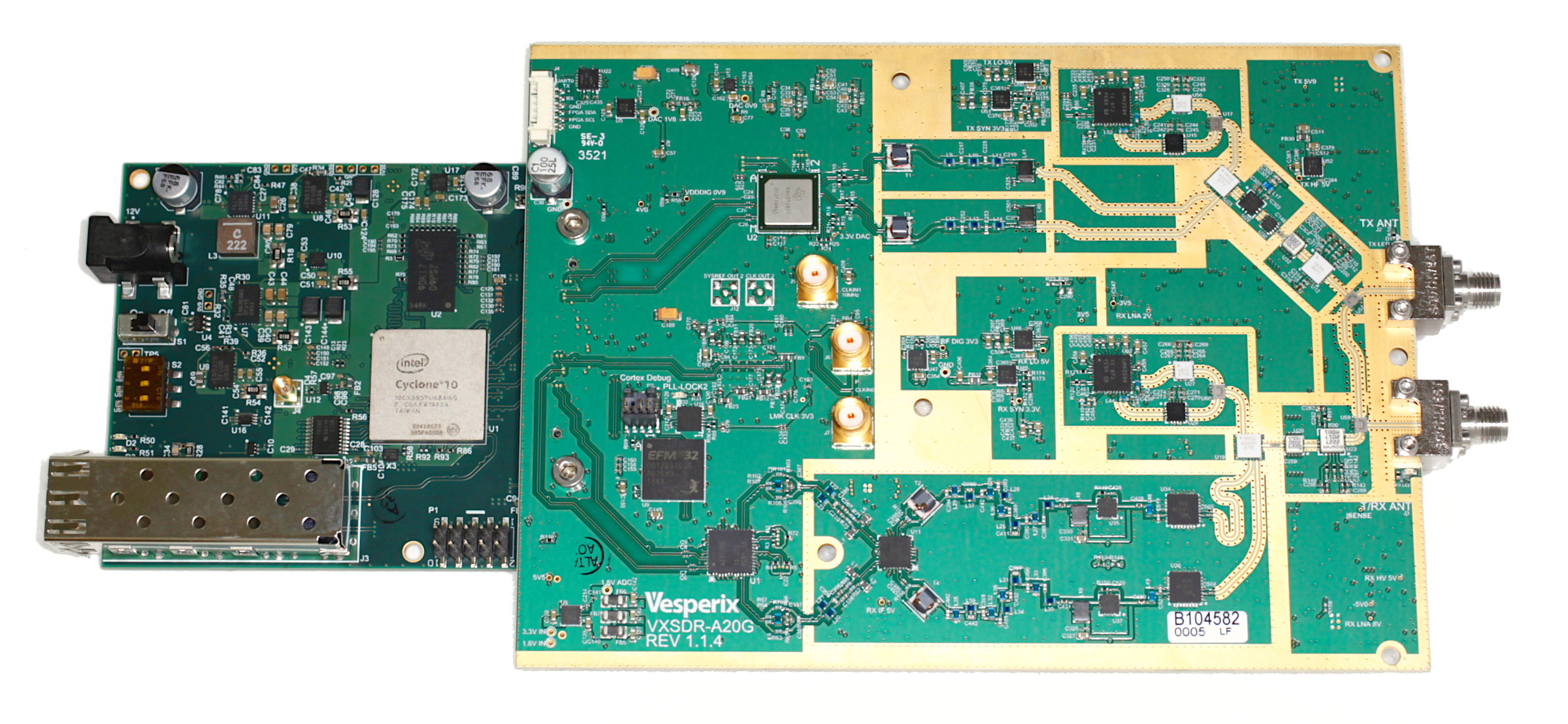 Picture of the VXSDR-20 boards